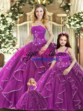 Enchanting Purple Ball Gowns Tulle Strapless Sleeveless Beading and Ruffles Floor Length Lace Up Vestidos de Quinceanera