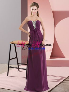 Dark Purple Zipper Sweetheart Beading Chiffon Sleeveless