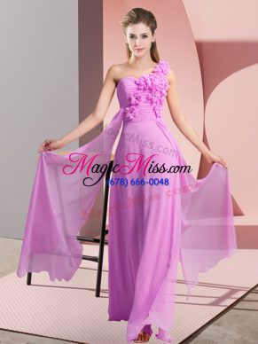 Lilac Lace Up One Shoulder Hand Made Flower Court Dresses for Sweet 16 Chiffon Sleeveless