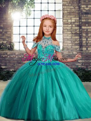 Elegant Turquoise Lace Up Little Girl Pageant Gowns Beading Sleeveless Floor Length