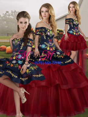 96f556f0bf Charming Wine Red Ball Gowns Off The Shoulder Sleeveless Tulle Brush Train  Lace Up Embroidery and