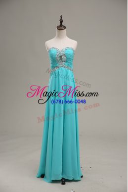 Vintage Aqua Blue Sleeveless Beading and Ruching Floor Length Prom Party Dress