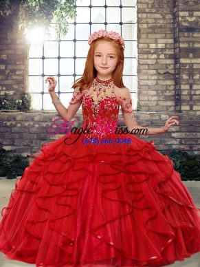 Luxurious Red Lace Up Little Girls Pageant Dress Wholesale Beading Sleeveless Floor Length