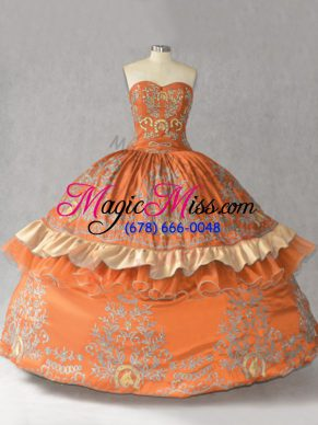 Deluxe Satin Sweetheart Sleeveless Lace Up Embroidery Vestidos de Quinceanera in Orange