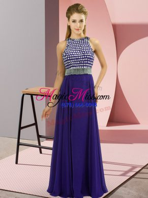 Artistic Purple Chiffon Side Zipper Homecoming Dress Sleeveless Floor Length Beading