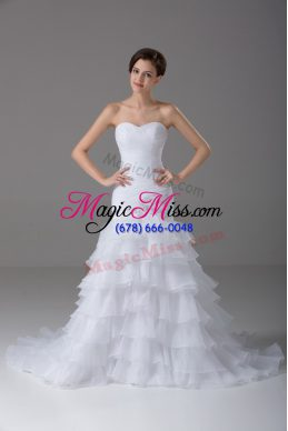 Sleeveless Brush Train Lace Up Beading and Ruffled Layers Bridal Gown