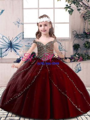 Ball Gowns Girls Pageant Dresses Wine Red Spaghetti Straps Tulle Sleeveless Floor Length Lace Up