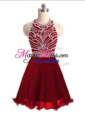 Traditional Wine Red Sleeveless Beading Mini Length Prom Evening Gown