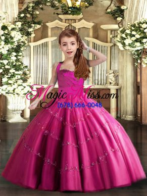 Fuchsia Ball Gowns Tulle Straps Sleeveless Beading Floor Length Lace Up Girls Pageant Dresses