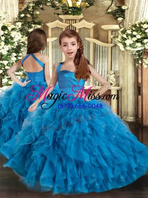 Affordable Ruffles Pageant Gowns For Girls Blue Lace Up Sleeveless Floor Length