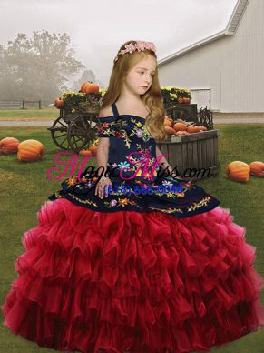 Excellent Straps Sleeveless Lace Up Little Girls Pageant Dress Red Organza