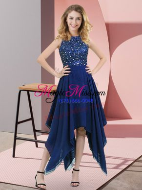 Sumptuous Royal Blue Dress for Prom Prom and Party with Beading and Sequins High-neck Sleeveless Zipper