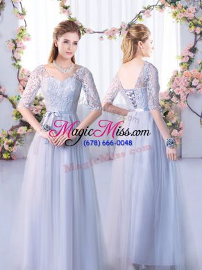 Low Price Grey Empire V-neck Half Sleeves Tulle Floor Length Lace Up Lace Quinceanera Court Dresses