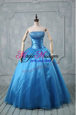 Suitable Baby Blue Strapless Lace Up Beading and Sequins Vestidos de Quinceanera Sleeveless