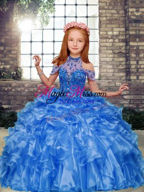 Graceful Beading and Ruffles Little Girl Pageant Dress Blue Lace Up Sleeveless Floor Length