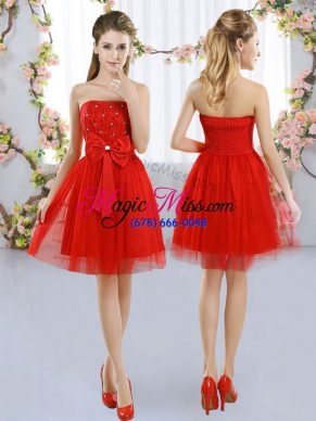 Cheap Red Sleeveless Tulle Side Zipper Dama Dress for Wedding Party