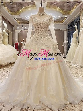 White Tulle Lace Up Wedding Gown Long Sleeves Court Train Appliques