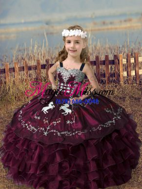 Custom Made Burgundy Organza Lace Up Little Girls Pageant Gowns Sleeveless Floor Length Embroidery and Ruffled Layers
