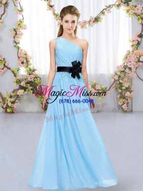 Delicate Aqua Blue One Shoulder Zipper Belt Dama Dress for Quinceanera Sleeveless