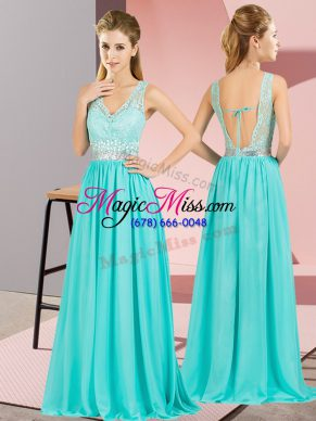 Attractive Empire Homecoming Dress Aqua Blue V-neck Chiffon Sleeveless Floor Length Backless