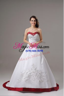 Chic Sleeveless Brush Train Lace Up Beading and Embroidery Wedding Gown