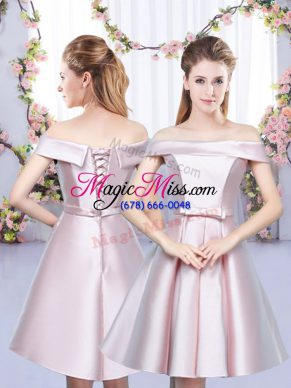 New Arrival Floor Length Baby Pink Bridesmaids Dress Satin Sleeveless Bowknot