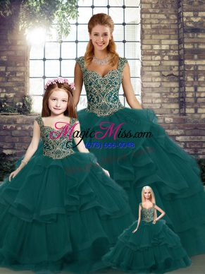 Best Beading and Ruffles Quinceanera Gown Peacock Green Lace Up Sleeveless Floor Length