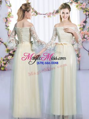 Elegant Champagne Bridesmaid Dresses Wedding Party with Lace and Bowknot Off The Shoulder 3 4 Length Sleeve Lace Up