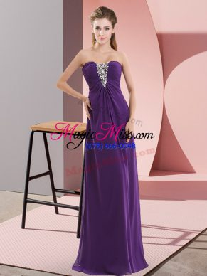 Fine Floor Length Purple Sweetheart Sleeveless Zipper