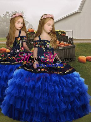 Straps Sleeveless Lace Up Child Pageant Dress Royal Blue Organza