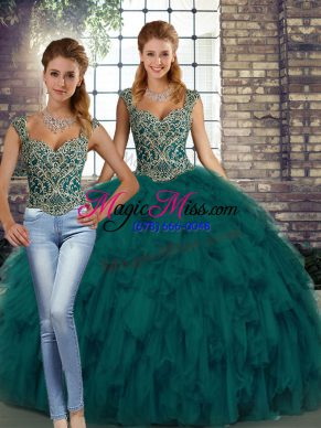 Charming Peacock Green Two Pieces Straps Sleeveless Organza Floor Length Lace Up Beading and Ruffles Ball Gown Prom Dress