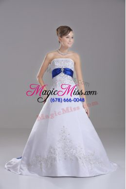 White Strapless Lace Up Beading and Embroidery Bridal Gown Brush Train Sleeveless