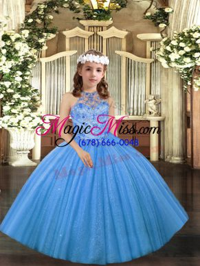 High Class Baby Blue Lace Up Little Girl Pageant Gowns Beading Sleeveless Floor Length