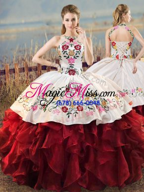 High Quality Organza Sleeveless Floor Length Quinceanera Gown and Embroidery and Ruffles