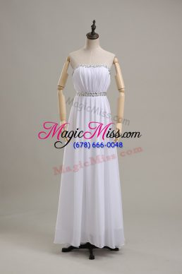 White Wedding Gowns Wedding Party with Beading Strapless Sleeveless Backless