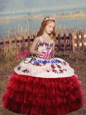 Gorgeous Red Kids Formal Wear Party and Wedding Party with Embroidery and Ruffled Layers Straps Long Sleeves Lace Up