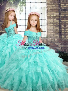 On Sale Aqua Blue Little Girls Pageant Gowns Party and Sweet 16 and Wedding Party with Beading and Ruffles Straps Sleeveless Lace Up