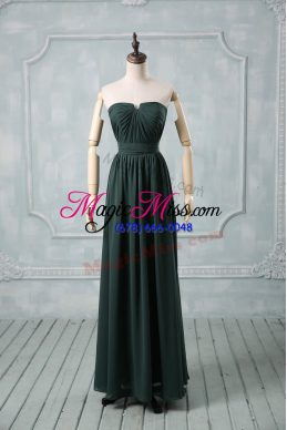 Strapless Sleeveless Going Out Dresses Floor Length Ruching Green Chiffon