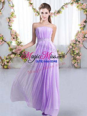 Lavender Lace Up Strapless Beading Bridesmaid Dress Chiffon Sleeveless Sweep Train