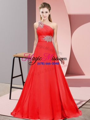 Clearance One Shoulder Sleeveless Chiffon Prom Dresses Beading Brush Train Lace Up