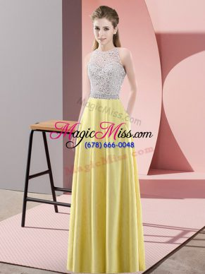 Best Selling Floor Length Empire Sleeveless Yellow Prom Gown Backless