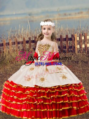 Red Straps Lace Up Beading and Embroidery and Ruffled Layers Girls Pageant Dresses Sleeveless
