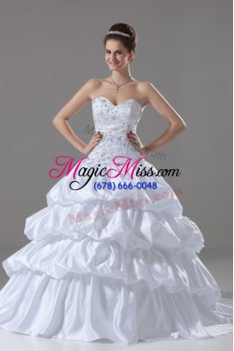 Best Selling Sweetheart Sleeveless Taffeta Bridal Gown Embroidery and Pick Ups Brush Train Lace Up