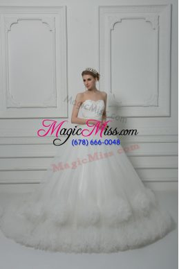 Latest White Lace Up Wedding Gown Beading and Hand Made Flower Sleeveless Court Train
