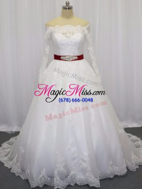 White Ball Gowns Beading and Lace and Belt Wedding Dresses Clasp Handle Tulle Long Sleeves