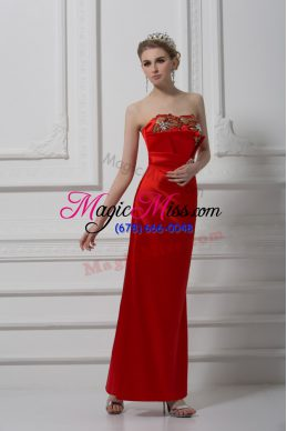 Red Column/Sheath Satin Sweetheart Sleeveless Beading and Appliques Ankle Length Lace Up Prom Evening Gown