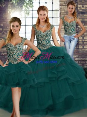 Fantastic Peacock Green Quinceanera Dresses Military Ball and Sweet 16 and Quinceanera with Beading and Ruffles Straps Sleeveless Lace Up