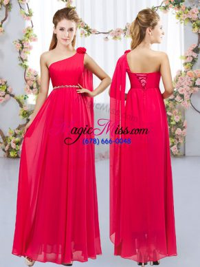 Glamorous Red Chiffon Lace Up Dama Dress Sleeveless Floor Length Beading and Hand Made Flower