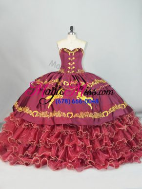 Embroidery and Ruffled Layers Quince Ball Gowns Burgundy Lace Up Sleeveless Brush Train