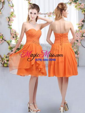 Lovely Empire Vestidos de Damas Orange Sweetheart Chiffon Sleeveless Knee Length Lace Up